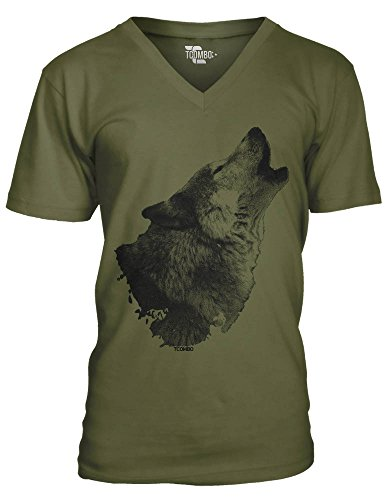 Howling Wolf - Halloween Teeth Men's V-Neck T-shirt (Large, OLIVE GREEN) ()