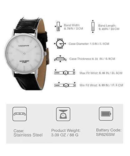 Timesshine Men's TSM1520 Classic Ultra Thin Shell Dial Quartz Watch with Genuine Leather Band