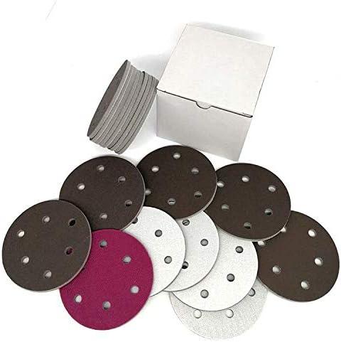 Maslin - 5 discos de papel de lija de cerámica, color rojo, 125 mm, 6 agujeros, grano 300-2000 para pulido y molienda: Amazon.com.mx: Herramientas y Mejoras del Hogar