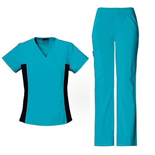 xibles V-Neck Knit Panel Top 2874 & Pull On Pant 2085 Scrub Set (Teal Blue - X-Large) (Teal Knit Pant Set)