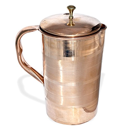 Prisha India Pure Copper Water Jug Drinkware Tableware Pitcher for Ayurveda Healing Capacity 1.6 L