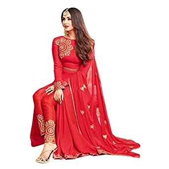 60c410601a W Ethnic Women Georgette Wedding Special Semi-stitched Salwar Suit & Lehenga  Choli (WDR-ERDg10637_Red_free size): Amazon.in: Clothing & Accessories