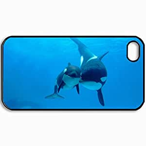 Personalized Protective Hardshell Back Hardcover For iPhone 4/4S, Whale Design In Black Case Color