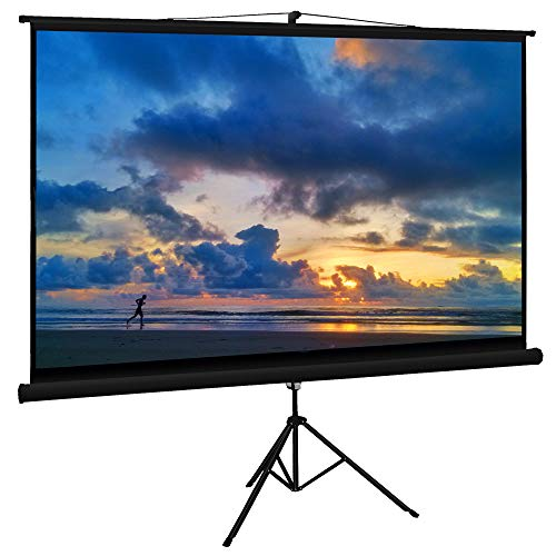Cloud Mountain Projector Screen with Stand 100 inch 16:9 Portable Projector screen Indoor Outdoor Tripod screen for Projector Adjustable Wrinkle-Free Foldable Projection Screen(1.3 Gain, 160° Viewing)