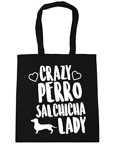HippoWarehouse Crazy Perro Salchicha Lady Bolso de Playa Bolsa Compra Con Asas para gimnasio 42cm x 38cm 10 litros capacidad Negro