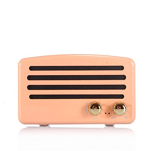 Home-Style Retro Bluetooth Speaker Card Portable Mini Stereo Sound Speaker T5 Stereo Pairing Revolve Pink Maoyou