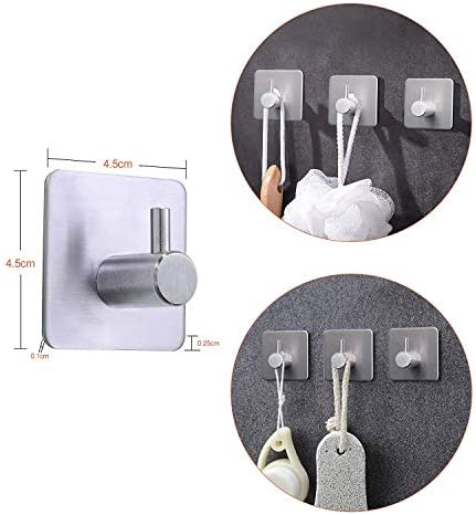 Bags Robe Adhesive Hooks Coat Turefans Heavy Duty Wall Hooks Stainless Steel Strong Sticky wall Hanger for Hanging Keys Hats Bathroom Kitchen Organizer-4 Pack Towel