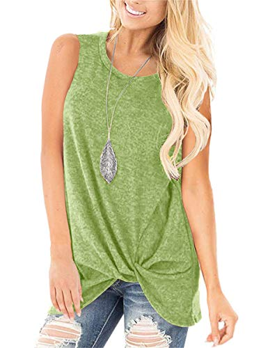 SAMPEEL Ladies Casual Tank Tops Shirts Womens Summer Clothes Boho Flowy Green M