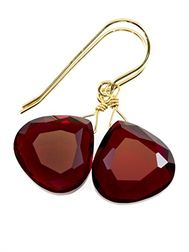 14k Yellow Gold Filled Red Simulated Ruby Earrings Faceted Heart Teardrops Simple Briolette Dangle Drops Faceted Ruby Earrings