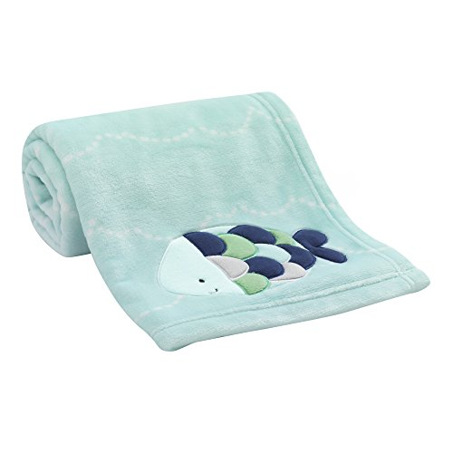 Lambs & Ivy Oceania Blue Turquoise Coral Fleece Baby Blanket with Fish