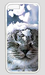 The Cat Standing in The Snow Customized Hard Shell Transparent iphone 6 plus Case By Custom Service Your Perfect Choice