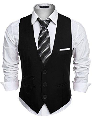 Hasuit Men's Top Designed Casual Slim V-neck Dress Vest Waistcoat (Dress Shirt And Vest)