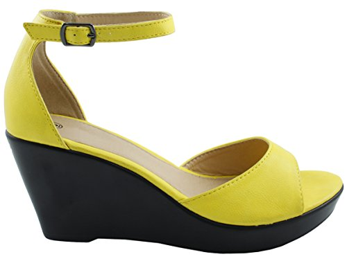 Cambridge Utvalda Womens Öppen Tå Ankel Strappy Plattform Wedge Sandal Gul