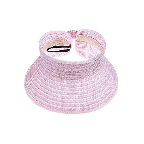 Kids Summer Roll Up Sun Visor Hat Wide Brim Straw Beach Hat Cap Sun Hats with Bow for Girls(Pink&White Stripe)]()
