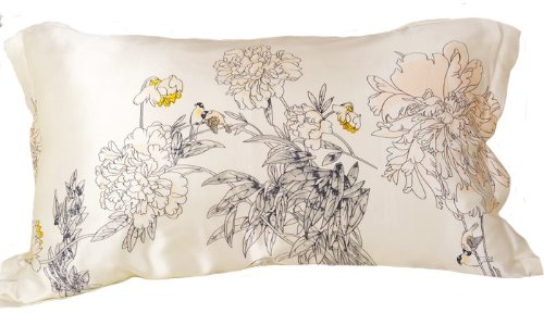 Orifashion Luxury 100% Silk Charmeuse Pillow Shams, Graceful Printed Chrysanthemum Patterns, Size: King by Orifashion