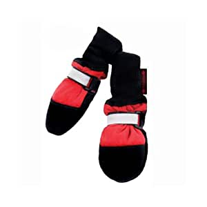 Muttluks Fleece Lined 2.75-Inch to 3.25-Inch Dog Boots, Small, Red, Set of 4
