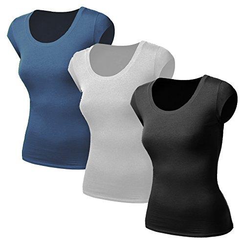 3x Damen Frauen Kurzarm T Shirt - 3er Pack - Basic TShirt - Basis Bluse - Tops - 3 in 1 Schwarz + Weiss + Denim