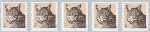 BOBCAT ~ WILDLIFE ~ PNC (PLATE NUMBER COIL) #4672 PNC Strip of 5 x 1¢ US Postage Stamps