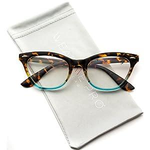 Clear Lens Vintage Retro Inspired Gradient Cat Eye Glasses (Tortoise Blue Frame, 49)