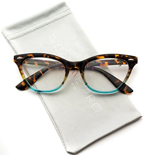 Frame Gradient Lens (Clear Lens Vintage Retro Inspired Gradient Cat Eye Glasses (Tortoise Blue Frame, 49))