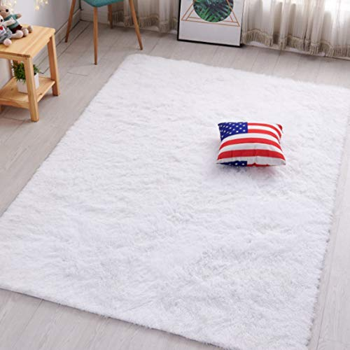 PAGISOFE Super Soft and Bright Colored Fluffy Shag Area Rugs and Carpets, Cute Decor, Cozy Accent, Shaggy Plush Living Room Carpets Bedroom Rugs Non Slip, 2x3 White