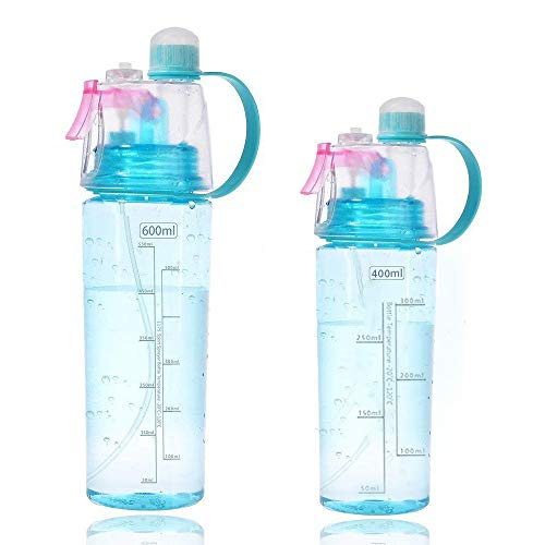 Fastdisk 21oz&14oz Mist Water Bottles,Spray Water Bottle for Kids Teenager,Leak Proof,BPA Free,Outdoor Sport Water Bottle,Blue Mother Cup