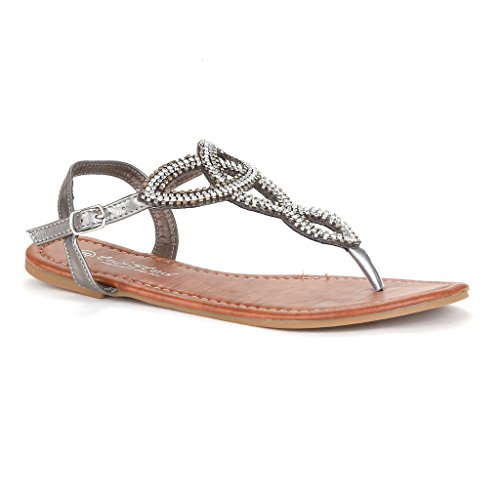 e3ecbfe18 Twisted Women s Daisy Faux Leather T-strap Sandal with Rhinestone Accents -  HEMATITE