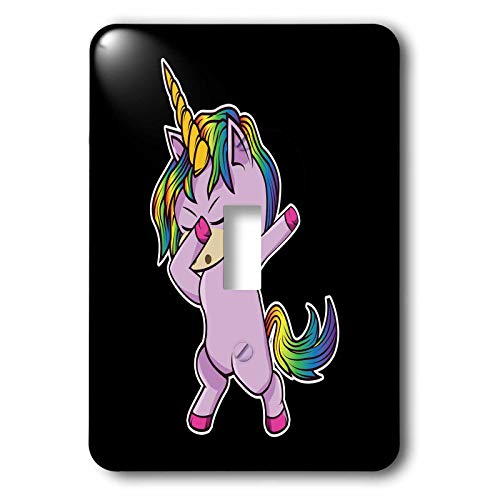 3dRose Sven Herkenrath - Animal - Cute Little Pink Dab Dabbing Unicorn on Black Background - Light Switch Covers - single toggle switch (lsp_290743_1) by 3dRose