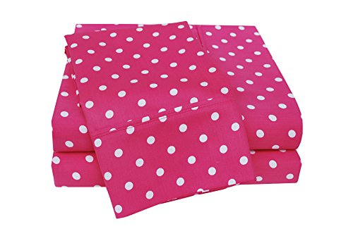 Pink Polka Dot Sheets - Superior Polka Dot Sheet Set, 600 Thread Count Cotton Blend Bedding Sets, Soft and Wrinkle Resistant Sheets with Deep Fitting Pockets - Full, Pink