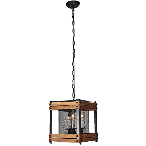 Square Hanging Lamp (Baiwaiz Rustic Hanging Lamp, 3-Light Square Metal and Wood Lantern Pendant Lighting Cage Kitchen Light with Metal Mesh Shade Adjustable Black Finishing Edison E12 BW17033)