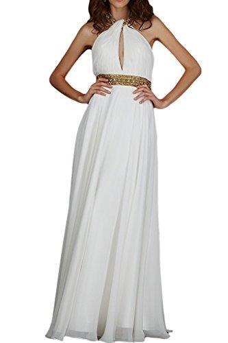 ivyd ressing Mujer a de línea Neck Holder con piedras gasa vestido de fiesta Prom vestido para vestido de noche blanco
