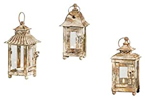 Gift Craft 7.5-Inch Metal and Glass Pillar Lanterns, Small, Antique Grey , set of 3