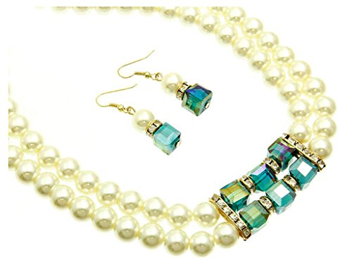 Fashion Jewelry ~ Cream Glass Pearls with Crystals Necklace and Earrings Set (Style 13999EM-G ri)