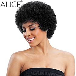 "Alice Afro Wig 4"" Short Curly Human Hair Wig (Natural Black)"