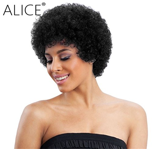 Alice Afro Wig 4 Short Curly Human Hair Wig (Natural Black)