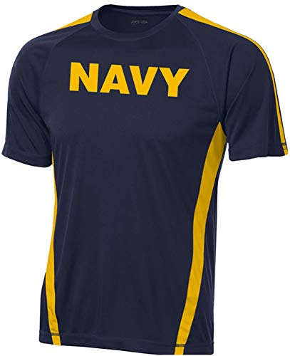 Joe's USA - Short Sleeve DRI-EQUIP Moisture-Wicking Navy Logo Shirts. 2XL