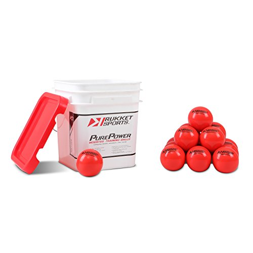 Rukket 15pk Weighted Baseball/Softball Heavy Training Balls | Practice Hitting, Batting and Pitching with Complete Control Powerball (1 pound, 3-inch diameter) includes Bucket (Batting Baseball Weighted)