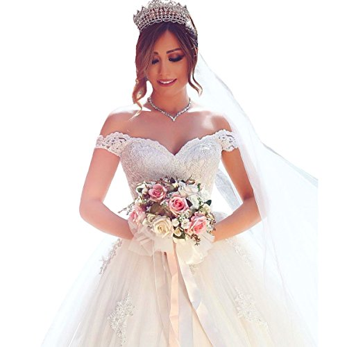 beaded back wedding dress with bow - 8