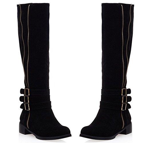 Casual Heels Westerngurt Low Mid Western Top Schwarz Boots Damen COOLCEPT 1IqpHwnSx