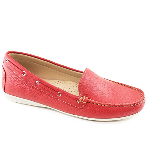 Driver Club USA Women's Leather Made in Brazil Cape Cod Driving Style Loafer Red Grainy