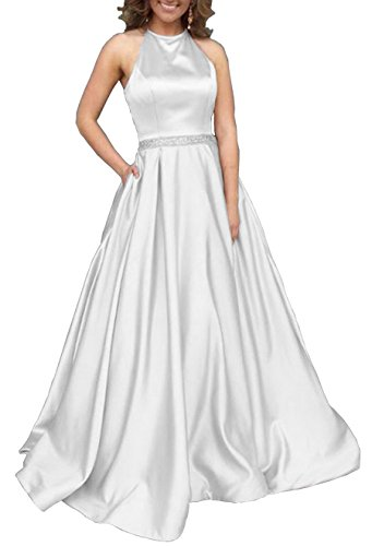 (Women's Halter A-line Beaded Satin Beach Wedding Dress Formal Evening Gown with Pockets Size 10 White )