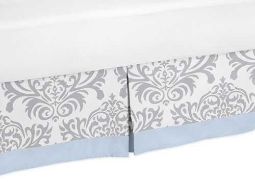 Blue, Gray and White Damask Print Avery Bed Skirt for Girl or Boy Toddler Bedding Sets by Sweet Jojo Designs