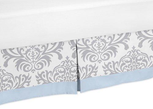 Blue, Gray and White Damask Print Avery Bed Skirt for Girl or Boy Toddler Bedding Sets Sweet Jojo Designs