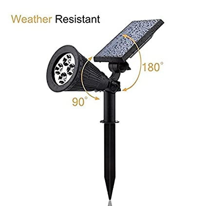 finest selection f9e5f 715cf Solar Spotlights,Aootek 2-in-1 Waterproof Adjustable 4 LED Wall / Landscape  Solar Lights with Automatic On/Off Sensor for Driveway, Yard, Lawn, ...