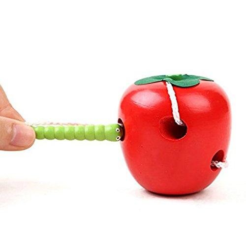 Fablcrew 1Pcs Jouets /éducatif en Bois Pomme Jeu de La/çage Corde Jeu dexploration pour B/éb/é Enfants