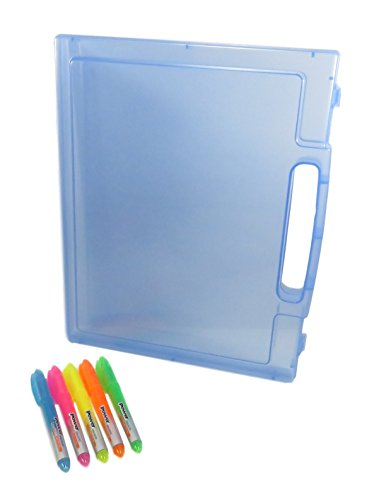 "Plastic Document Arts-n-Craft Paper Case Holder With Handle 12"" x 10"" Clear Blue and Highlighters Blue Pink Yellow Orange Green (Bundle of 2 Items)"