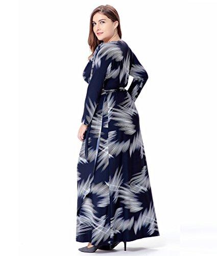 YiJee Damen Cocktailkleid Gedruckt VAusschnitt Kleid Übergröße ...