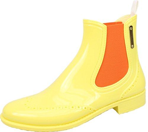 BOCKSTIEGEL® CHELSEA Mujer - Medio Botas de goma con estilo | Chelsea Boots | A prueba de agua | Elegante | Exclusivo Yellow / Orange