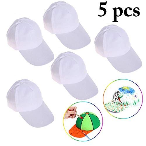 B bangcool DIY Kids Baseball Caps Hats - White DIY Creative Painting Cotton Sun Hat Sports Cap for Kids Aged 3-12 yrs Old -