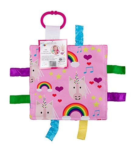 "Baby Sensory Crinkle & Teething Square Lovey Toy with Closed Ribbon Tags for Increased Stimulation: 8""X8"" (Unicorn and Rainbows)"